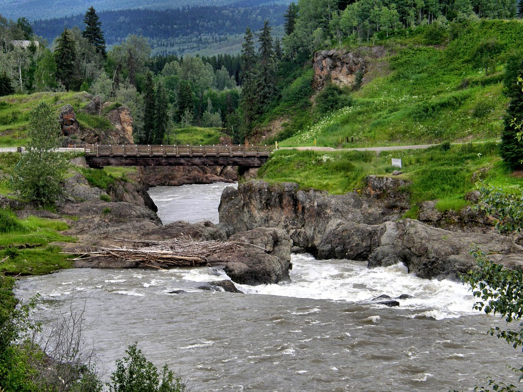 Narrows on the Bulkley River which is favorite fishing spot for the local First Nations People.