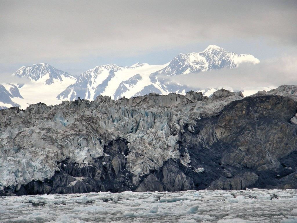 Once in a while we would get a glimpse of the higher peaks feeding the glaciers.