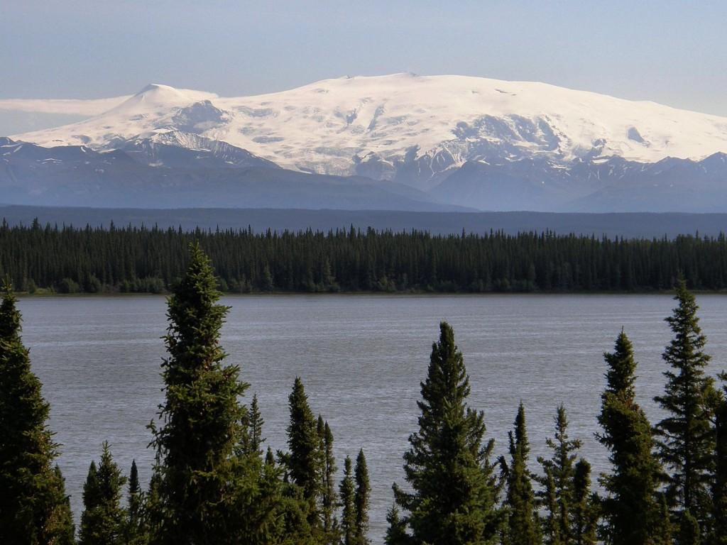 Mount Wrangell 14,163 ft, highest active volcano in Alaska