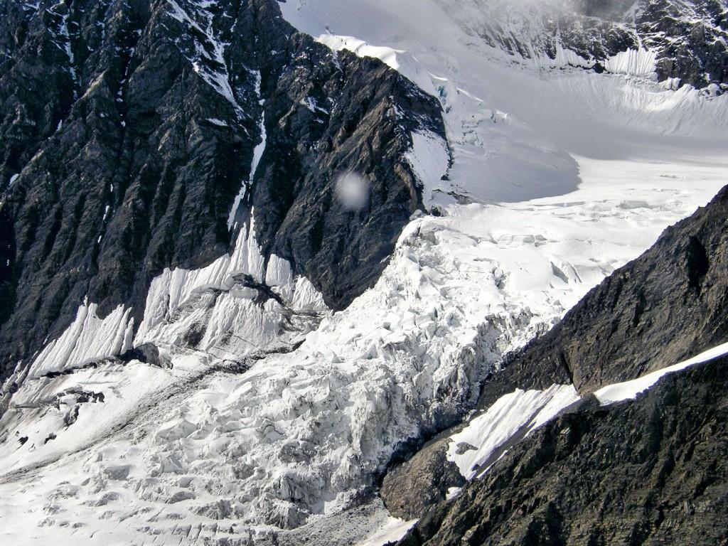 Icefall feeding the Ruth Glacier