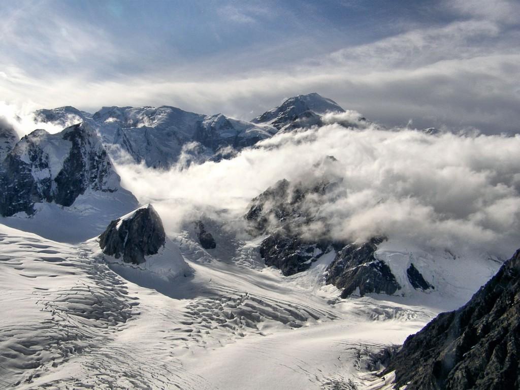 Denali rising above the Ruth Glacier