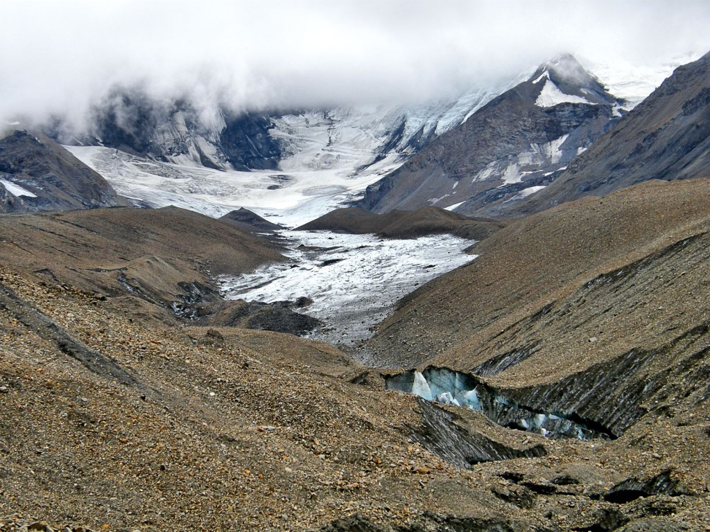 View up glacier from eastern medial moraine