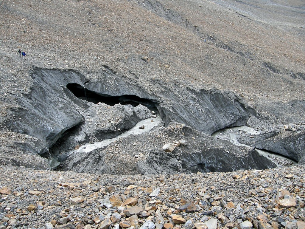 Erosion of moraine by stream