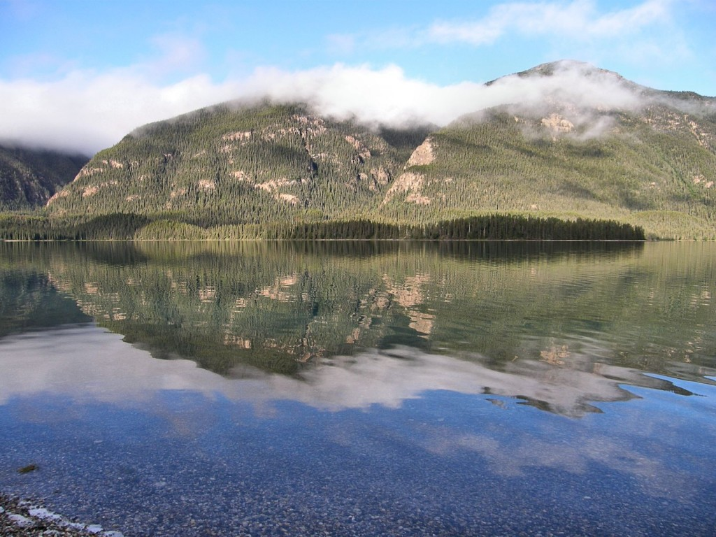 Morning reflections in Muncho Lake