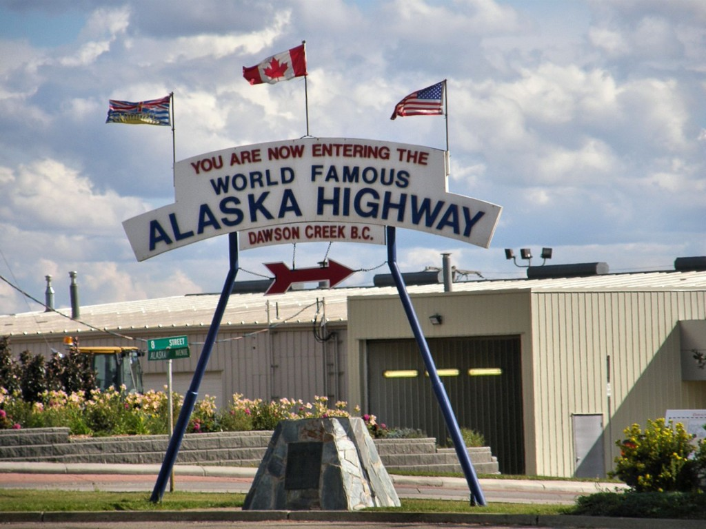 Sign posted at junction in Dawson Creek where you turn onto the the Alaska Highway